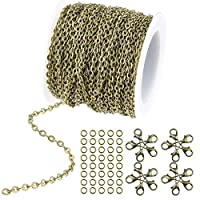WXJ13 36 Feet/12 Yards Bronze Color Plated Round Cable Link Chain Necklace with 20 Lobster Clasps and 30 Jump Rings for Necklace Jewelry Accessories DIY Making