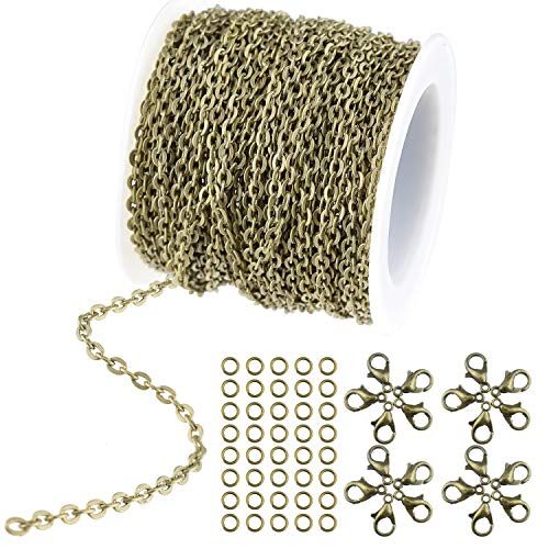 WXJ13 36 Feet/12 Yards Bronze Color Plated Round Cable Link Chain Necklace with 20 Lobster Clasps and 30 Jump Rings for Necklace Jewelry Accessories DIY ()