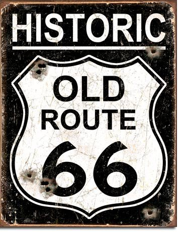 """New Historic Old Route 66 Highway 16"""" x 12.5"""" (D1938) Retro Vintage Appearance Tin Sign"""