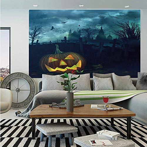 Halloween Huge Photo Wall Mural,Halloween Pumpkin in Spooky