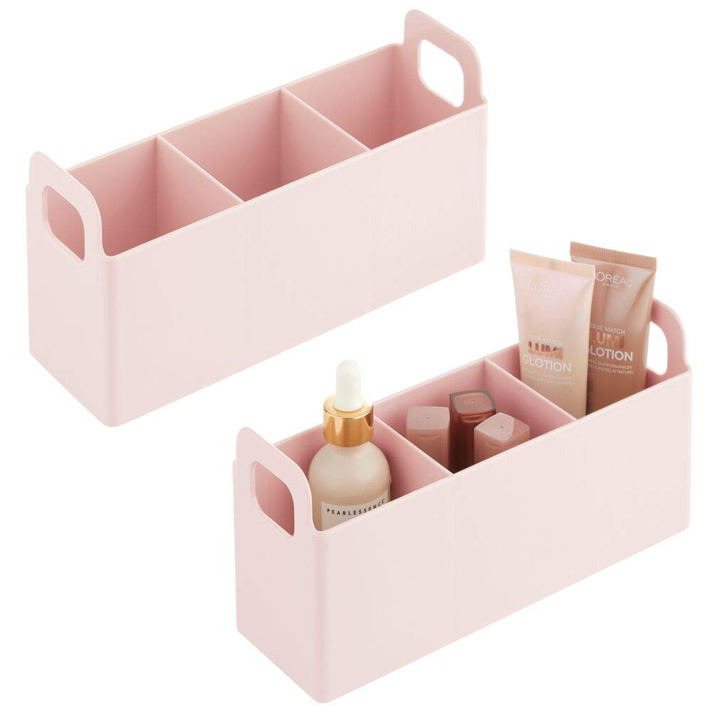 mDesign Plastic Bathroom Vanity, Cabinet, Countertop Cosmetic Organizer Storage Station Makeup Holder - Holds Eyeshadow Palettes, Nail Polish, Blenders, Lip Gloss, 2 Pack - Light Pink/Blush