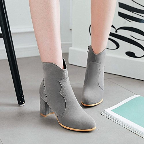 Charm Foot Womens Chic Zipper Chunky Tacco Alto Stivaletti Grigi