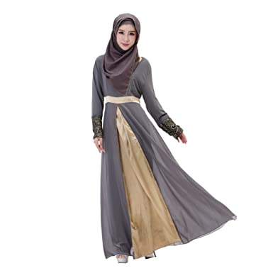 623094ee3522 Froomer Muslim Abaya Women Chiffon Patchwork Long Sleeve Maxi Dress at  Amazon Women's Clothing store:
