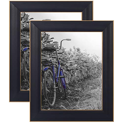 Americanflat 2 Pack - 8x10 Black Rustic Picture Frames with Easels - Made for Wall and Tabletop Display