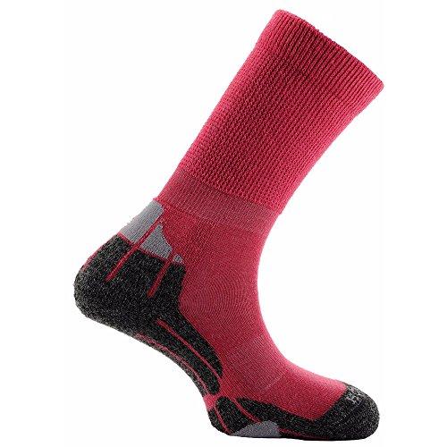 Horizon Unisex Merino Hiker Socks (4-7 US) (Cerise/Gray/Charcoal)