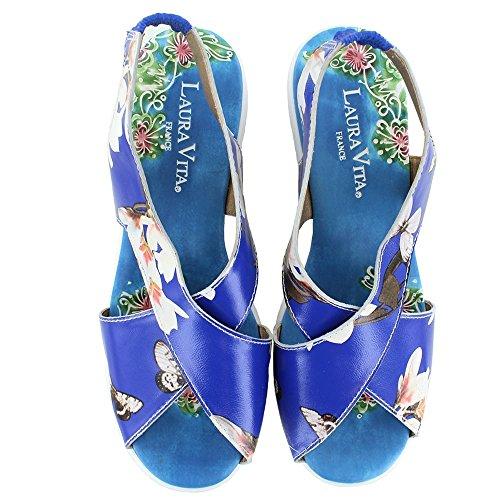 Laura Vita Virus SL9766-4A Womens Leather Platform Sandals - Blue White, Print / Patterned