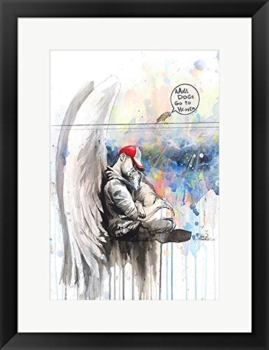 All dogs go to heaven by lora zombie framed art print wall picture black frame