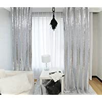 TRLYC 4Ft7Ft Silver Sequin Photo Backdrop Ceremony Background Shimmer Curtain For Wedding