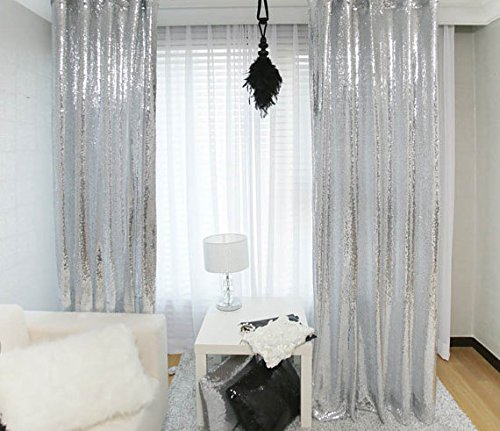 TRLYC 4Ft7Ft Silver Sequin Photo Backdrop Ceremony Background Shimmer Curtain For (Silver Sequin Fabric)