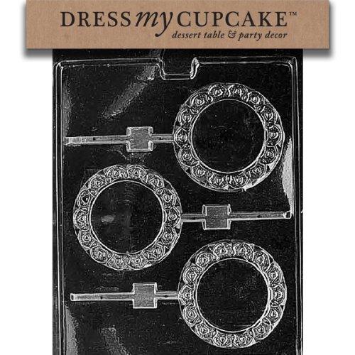 Dress My Cupcake DMCM061 Chocolate Candy Mold, Plain Round Fancy Border Lollipop