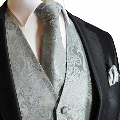 Men's 3pc Paisley Set (S (Chest 41), Silver) by Brand Q