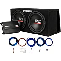 MTX Audio TNP212DV Dual 12 Subwoofer Vented Enclosure with Amplifier and 8 Gauge Amp Kit