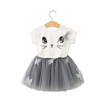 Ropa bebé Amlaiworld Gato Patrón Camiseta Tops de bebé Niñas + Falda ...