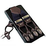 Leather 6 Clips Male Vintage Casual Suspenders Suspenders Trousers Braces Strap Dark Blue
