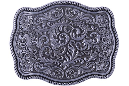 Flower Nursery Parterre Design Cowboy Belt buckle (Silver)