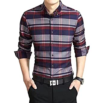 Amazon.com: Casual Men Plaid Shirt 2017 New Flannel Grid ...