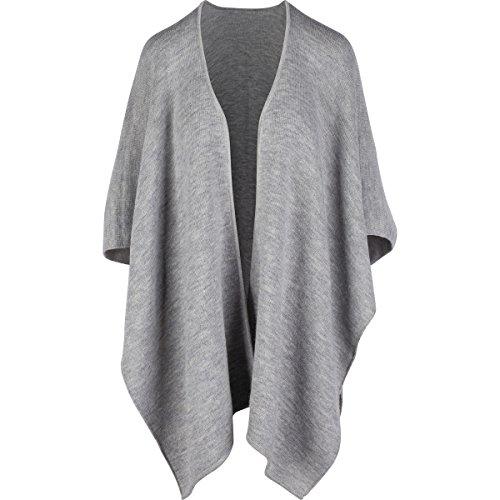 Madre Nature Fashion Fashionable 100% Alpaca Shawl, Light Grey Poncho, Peruvian Made by Madre Nature Fashion
