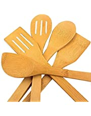 5 x Piece Bamboo Wooden Kitchen Cooking Utensils Set Tools Spatula Spoon Turner for non-stick pans