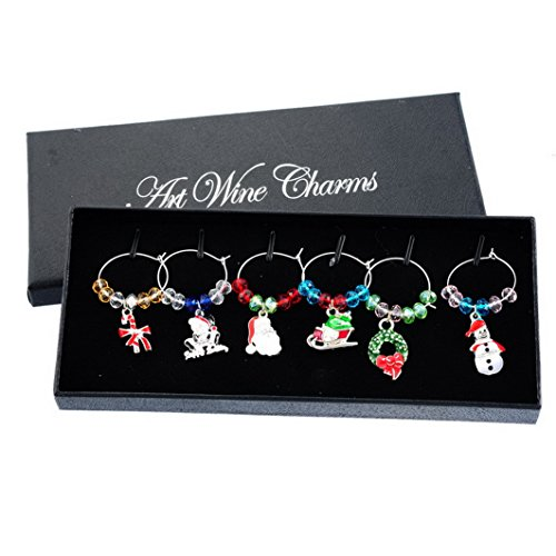 Souarts Mixed 6pcs Glass Charms Marker Tags Set with Gift Box Christmas Snowman Santa Claus Sleigh Candy Cane Pendants