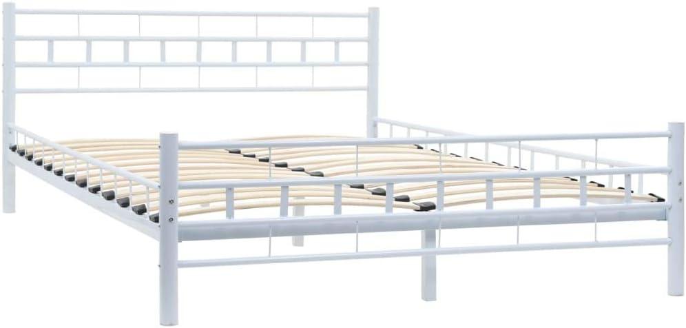 vidaXL Estructura Cama Metálica y Somier 140x200cm Bloques Blancos Mobiliario