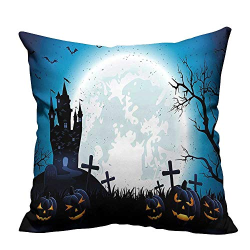 (YouXianHome Sofa Waist Cushion Cover Spooky Concept with Halloween Icons Old Celtic Harvest Festival Figures in Dark Image Decorative for Kids Adults(Double-Sided Printing) 26x26)