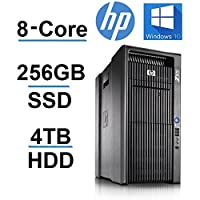 8 CORE COMPUTER with 16 Hyperthreads -HP Z800 Workstation - 2 X Intel QUAD CORE Xeon up to 3.33GHz - New 256GB SSD + 4TB HDD - 96GB DDR3 - 4 Monitor Capable - USB 3.0 - REFURBISHED
