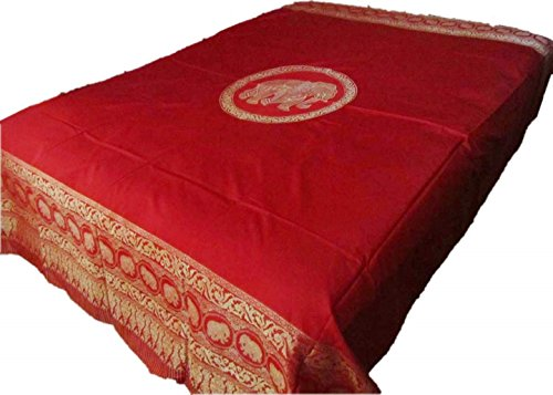 Blue Orchid Elephant Bedspreads Queen Size Thai Bohemian Bedding Hippie Hobo Bedroom Decor 80'' x 100'' (Strawberry Red) by Blue Orchid