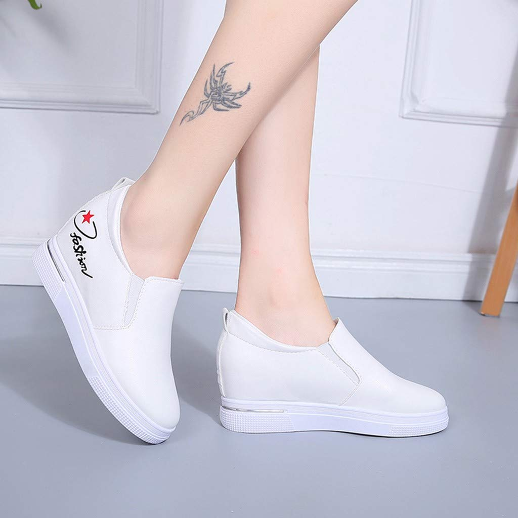 2019 New Women's Shoes, Claystyle Pu Solid Color Straps Casual Sports Shoes Thick Bottom Invisible Heightening Shoes White by Claystyle Shoes (Image #2)
