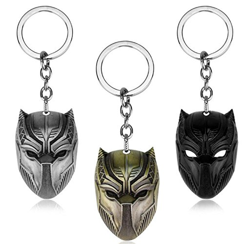 Civil War Keychain - 3pcs Black Panther Keychain Civil War Llavero Metal Key Chain Jewelry Gift