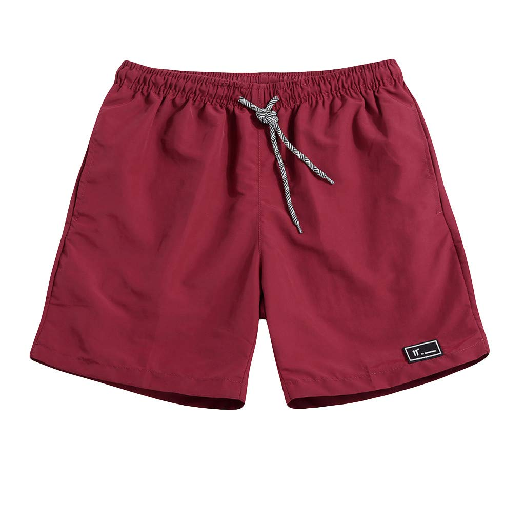 NUWFOR Men's Summer Plus Size Thin Fast-Drying Beach Trousers Casual Sports Short Pants(Wine,US:XXL Waist30.3-43.3'')