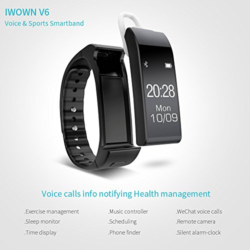 Yuntab V6 Voice Smartband Wireless Fitness Tracker Bluetooth 4.0 Pedometer Sports Watch Headphone Music Control Phone Call for Apple IOS and Android Device (V6-Black)
