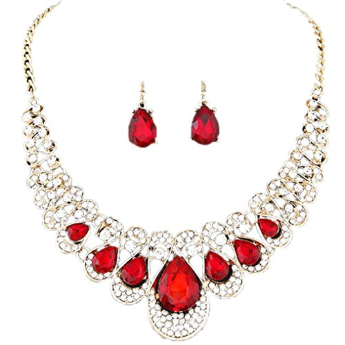 Deals Necklace+Earrings Jewelry Set Womens Mixed Style Bohemia Color Bib Chain Necklace Earrings Jewelry by ZYooh (Red)