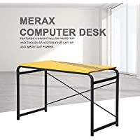 Merax Yellow PC Desk Computer desk Home Office Study Table Laptop Table Computer Desk Metal Legs (Yellow)