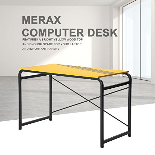 Merax Yellow PC Desk Computer desk Home Office Study Table Laptop Table Computer Desk with Metal Legs (Yellow) by Merax