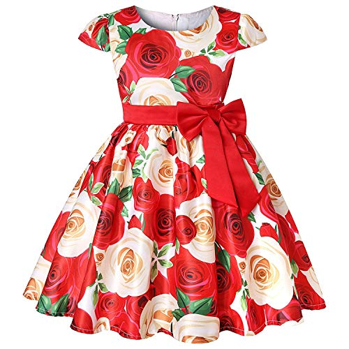 Baby Girls Dress Elegant Blooming Rose Flower Garden Cotton Christmas Halloween Princess Kids Dresses,Red,4T -