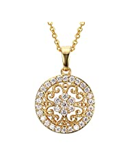 Womens Round Shape White CZ Cubic Zirconia Crystal Pendant Necklace,Free Chain,Gold