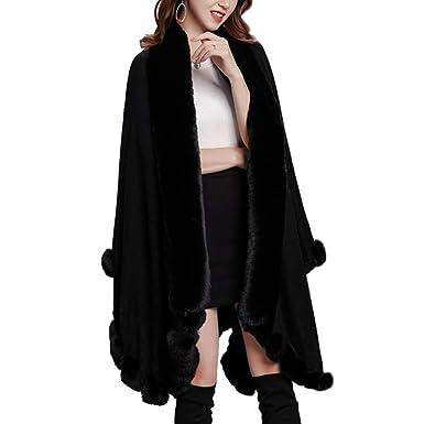 fc6ea47d64696 LIULIFE Autumn Winter Cape Poncho Thick Faux Fox Fur Collar Cloak Fashion  Large Shawl Women s Coat
