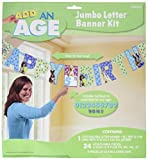 Cute Party Pups Jumbo Add-An-Age Letter Banner Birthday Party Decorations, 12.7