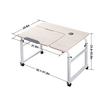 Mesa de sobrecama sobre ruedas sobre la mesa, mesa, ordenador portátil, escritorio,