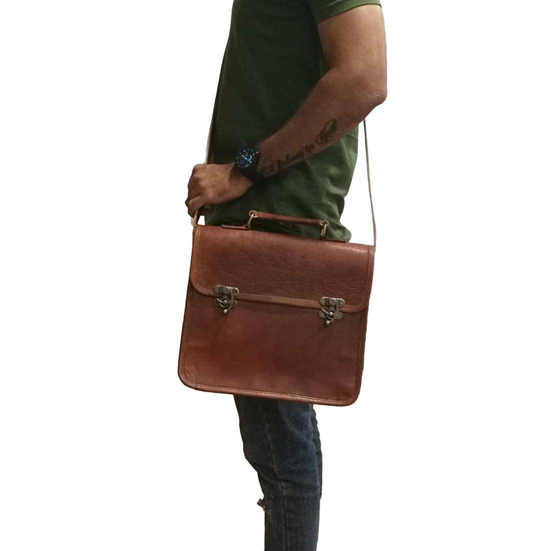 Mad Over Shopping Indian Brown Messenger Genuine Leather Mens Shoulder Bag Crossbody Satchel Clasp Lock