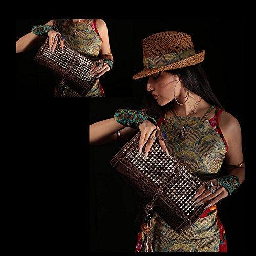 paille toile pochette Bambou à armure tricot menotte sac sac la rotin main à main w1Zqc4x0
