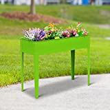 Festnight Easy Grow Patio Garden Planter Elevated Garden Bed - 40'' x 16'' x 32'' Lime Green Metal Rectangular