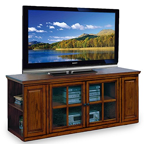 Leick Riley Holliday TV Stand, 62-Inch, Burnished Oak - Entertainment Oak Center Glass