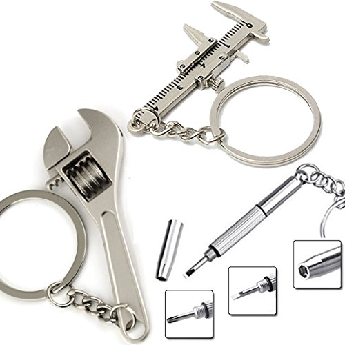 3X Mini Tool Keychain Set with Key Holders Tag Movable Vernier Caliper Ruler Sliding / Screwdriver Multitool / Wrench Keychain Tools and Gadgets Cool Gift Ideas for - Clapper Sunglasses