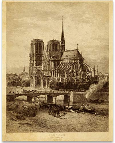 Notre-Dame - Cathedral Paris - 11x14 Unframed Art Print - Makes a Great Gift Under $15 to People Who Are Into Architecture