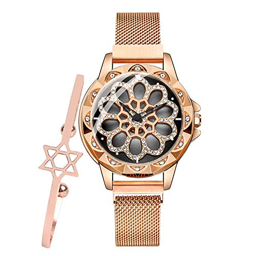 Luxury Women's Diamond Shining Bling Starry Sky Magnetic Buckle Bracelet Watches Fashion Unique Design Hollow Flower Diamond Waterproof ()
