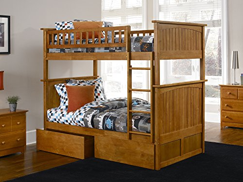 Nantucket Bunk Bed with 2 Flat Panel Bed Drawers, Twin Over Twin, Caramel Latte