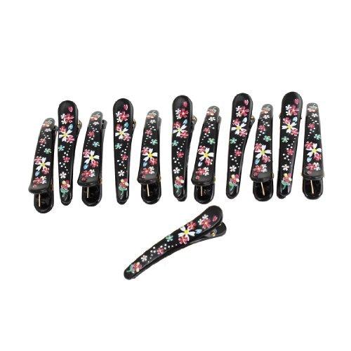 Hairdressing Floral Pattern Black Alligator Hairclips Barrettes 12 Pcs