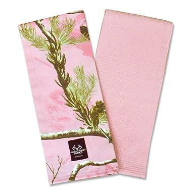 DII 100% Cotton, Machine Washable, RealTree Camo Kitchen Dishtowel Gift Set, Includes 2 Different Designed Dishtowels, 18 x 28 , Pink
