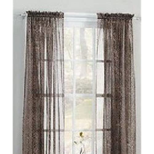 Gorgeous HomeDIFFERENT COLORS 2 PANELS 55 WIDE X 63 LENGTH FOR EACH PANEL SOILD WINDOW SHEER CURTAINS TREATMENT ROD POCKET DRAPE LEOPARD BROWN